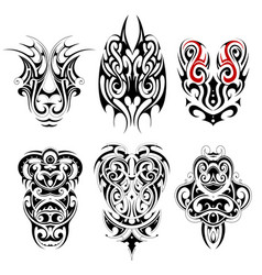 tribal tattoo set with various ethnic styles vector image