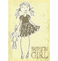 vintage hand drawn girl vector image