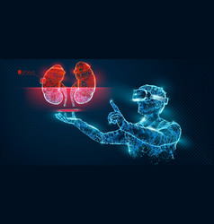 vr wireframe headset man with kidney banner vector image