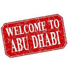 Welcome to Abu Dhabi red square grunge stamp vector