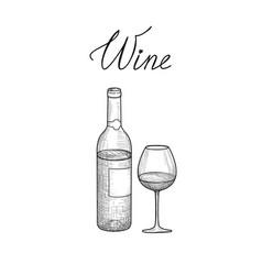 wine set half full wine glass bottle lettering vector image