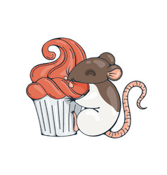 With cute rat with cupcakes vector