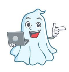 with laptop cute ghost character cartoon vector image