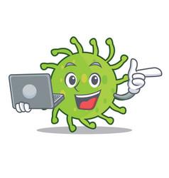 With laptop green bacteria character cartoon vector