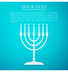 Hanukkah menorah flat icon on blue background vector image vector image