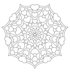 mandala with hearts for coloring book vector image