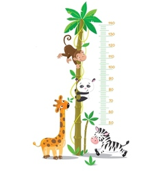 Meter wall with palm tree and funny animals vector image vector image