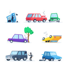 pictures set of different accidents on the vector image