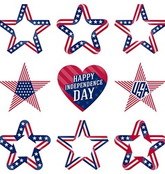 A set of original stars and heart for Independence vector image