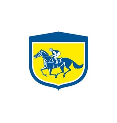 Jockey Horse Racing Side View Shield Retro vector image