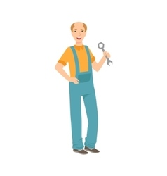 Man Plumber With A Wrench Part Of Happy People vector image vector image
