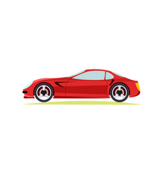 red modern fast sports car on white background vector image vector image