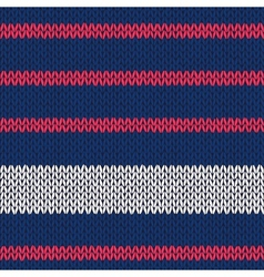 Seamless knitted pattern with red white stripes vector image