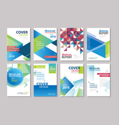 set of blue cover brochure flyer annual report vector image