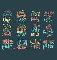 set of vintage bakery hand lettering labels vector image vector image