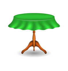 wooden round table with tablecloth vector image vector image