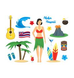 cartoon symbol of hawaii color icons set vector image vector image