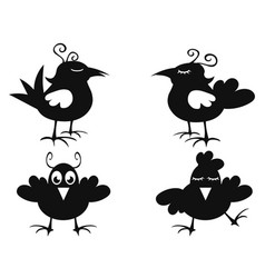 funny black bird icon vector image vector image