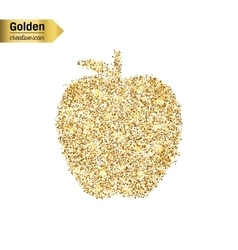Gold glitter icon of apple isolated on vector