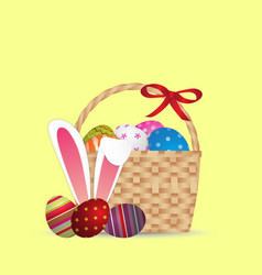 happy easter day design basket of easter eggs vector image