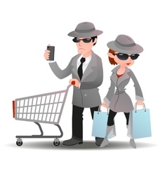 Mystery shopper man with shopping cart phone and vector image vector image