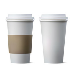 realistic coffee paper cup with blank space and vector image