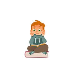 cartoon boy reading sitting at big book vector image vector image