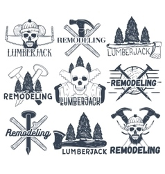 Collection of lumberjack and carpenter vector image