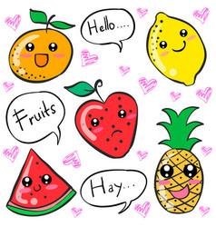Colorful fruit cartoon doodle style vector