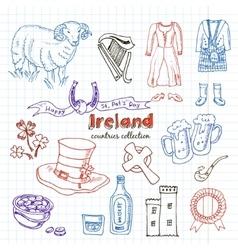 Hand drawn doodle ireland symbols set vector
