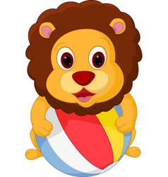 lion cartoon playing ball vector image vector image