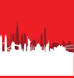red cityscape background vector image vector image