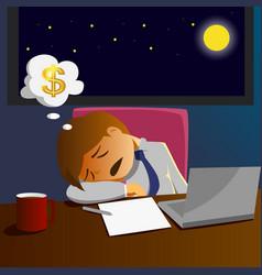 salary man working overtime and sleep on desk vector image