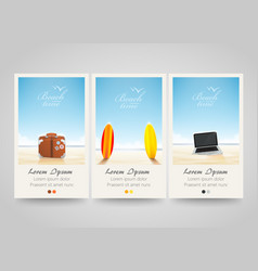 travel banner set with surf laptop bag vector image vector image