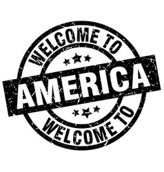 welcome to america black stamp vector image vector image
