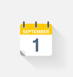 1 september calendar icon vector image