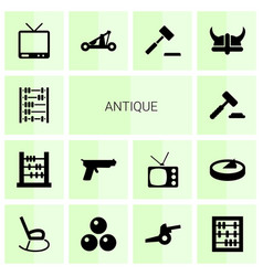 14 antique icons vector