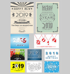 2019 happy new year collection of ten background vector