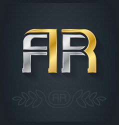 A and r initial gold and silver logo ar vector
