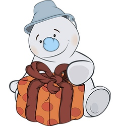 A Christmas snowman and a box cartoon vector image