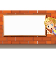 A smiling girl and a white board vector