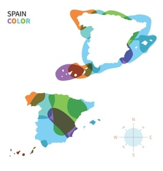 Abstract color map of spain vector