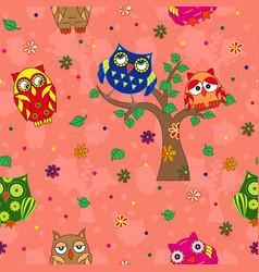 Amusing owls seamless pattern over terracotta vector