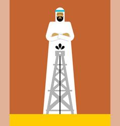 arabian man and oil pump oae guy vector image