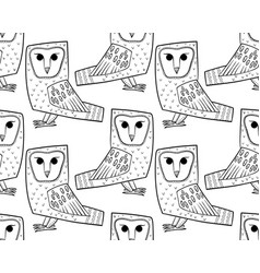 Barn owl a seamless pattern in the handdrawn vector