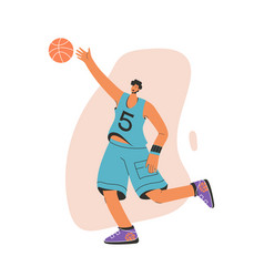basketball player in uniform catching ball vector image