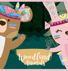 Bear and rabbit woodland animals vector