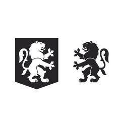 black heraldic rampant lion vector image