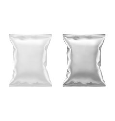blank white plastic and silver metallic foil bag vector image