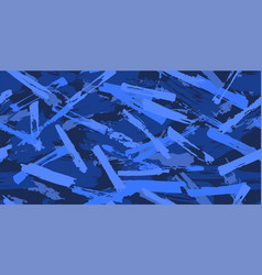 blue seamless camouflage pattern brush strokes vector image
